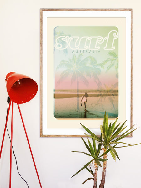 A1 Australia Surf Poster 'Beach Dreams' Pink in woodenframe