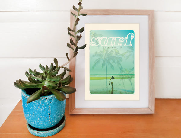 A4 Australia Surf Poster 'Beach Dreams' Blue in wooden frame