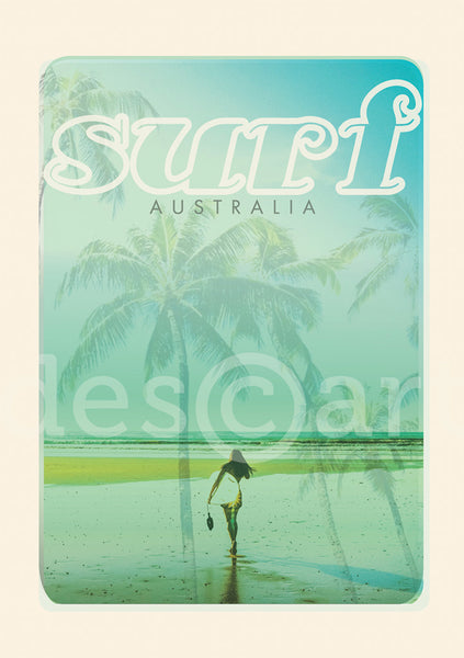 Australia Surf Poster 'Beach dreams ' Blue with watermark