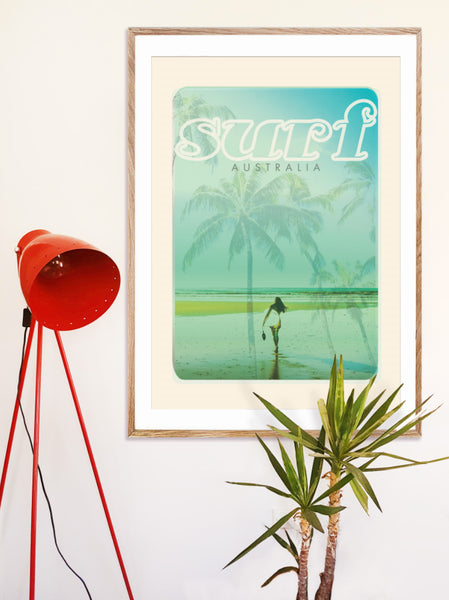 A1 Australia Surf Poster 'Beach Dreams' Blue on wall in wooden frame