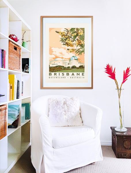 Brisbane Planetarium poster print in wooden frame with armchair