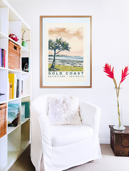 Burleigh Heads art print in wooden frame with armchair