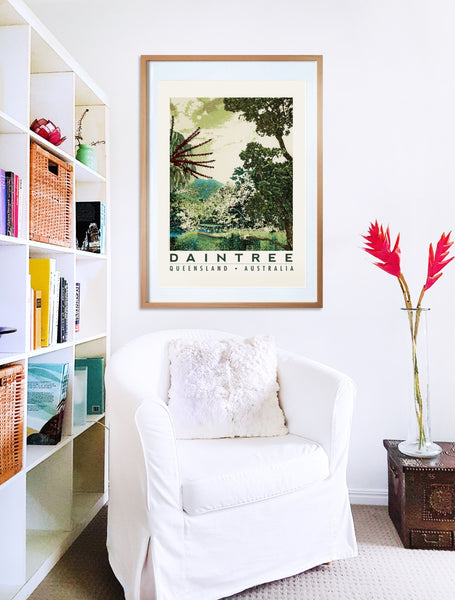 Daintree rainforest poster print in wooden frame with armchair