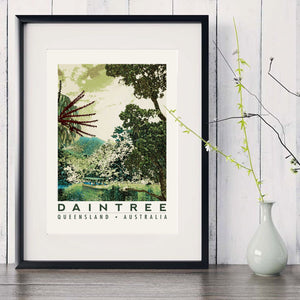 Daintree rainforest art print in black frame with white vase