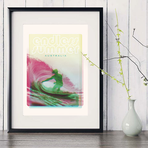 A3 Australia Surf Poster 'Endless Summer' green in black frame
