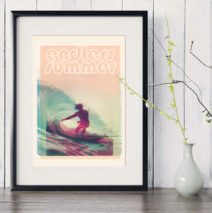 A3 Australia Surf Poster 'Endless Summer' Red in black frame