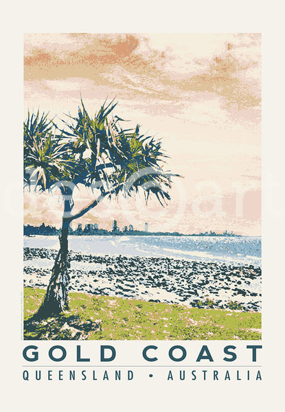 Queensland Gold Coast Poster 'Burleigh Heads' with watermark