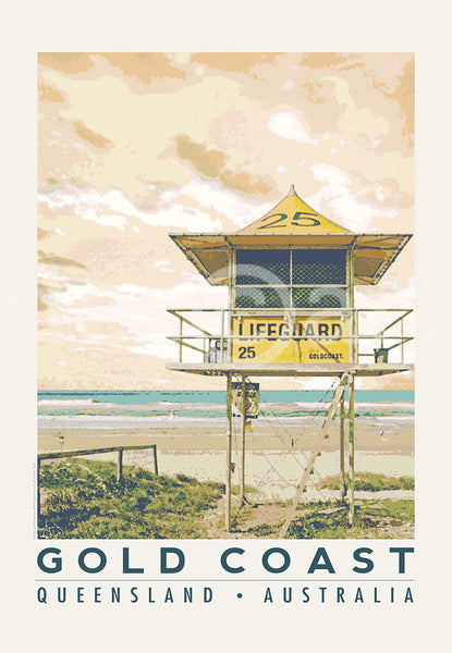 Gold Coast Queensland Poster 'Lifeguard Tower' with watermark