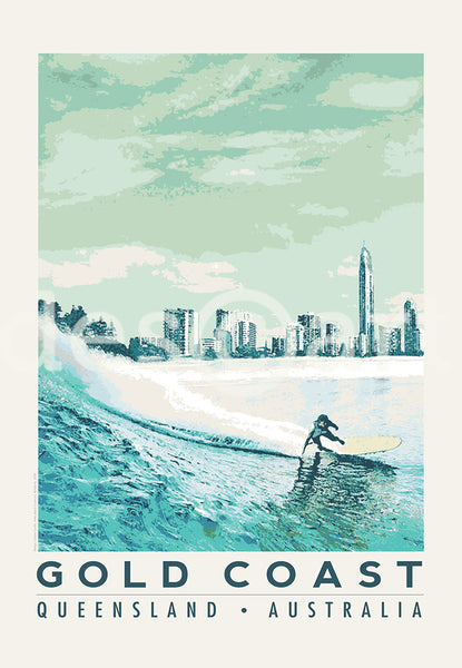 Queensland Gold Coast Poster 'Blue Surfer' with skyline and water mark