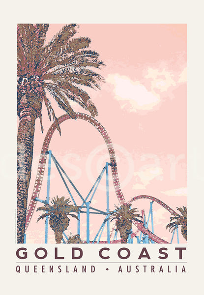 Queensland Gold Coast Poster with roller coaster and palm tree with water mark