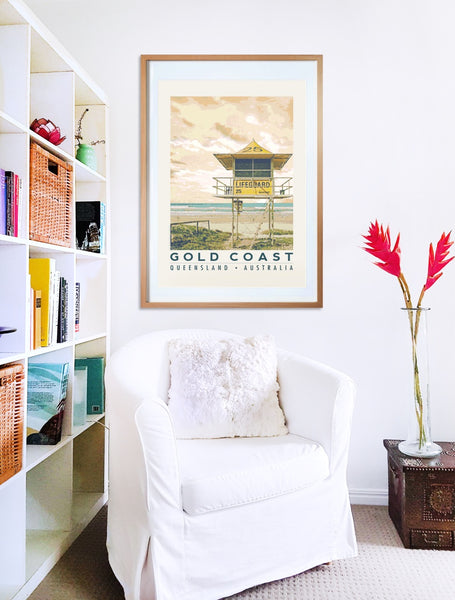 Gold Coast beach with lifeguard tower  poster print in wooden frame with armchair