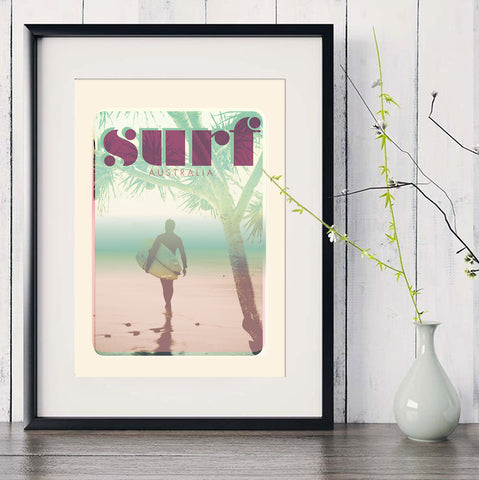 "A3 Australia Surf Poster ""morning Surf' Pink in black frame"