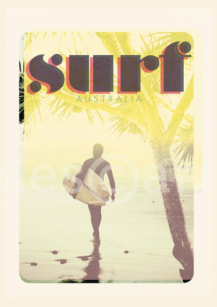 Australia Surf Poster 'Morning Surf' Yellow with watermark