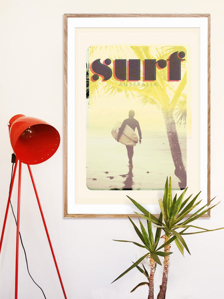 A1 Australia Surf Poster 'Morning Surf' Yellow in wooden frame