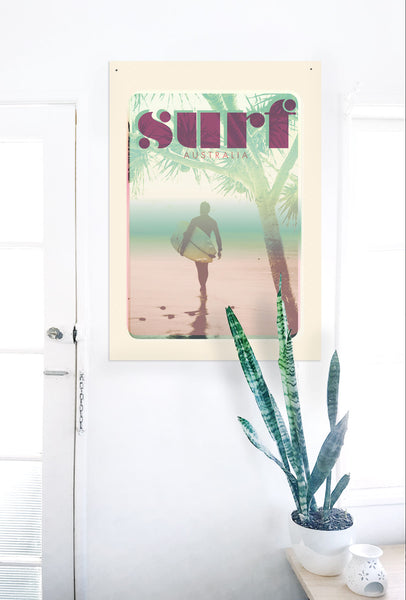 "A2 Australia Surf Poster ""morning Surf' Pink on white wall"