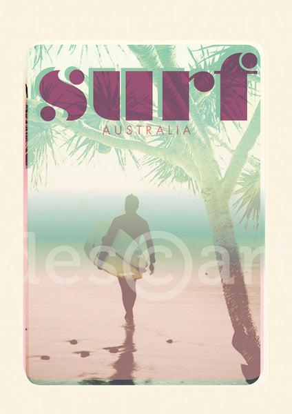 Australia Surf Poster 'Morning Surf' Pink with watermark