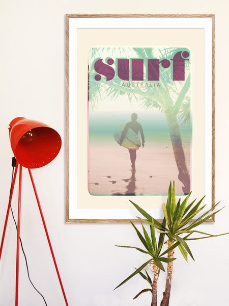 A1 Australia Surf Poster 'Morning Surf' Pink in wooden frame