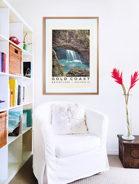 Natural Bridge in Gold Coast hinterland poster print in wooden frame with armchair