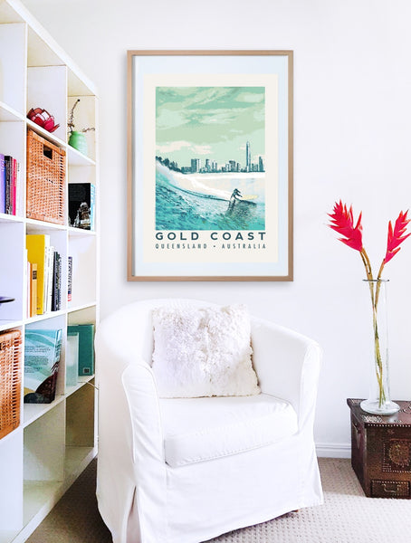 Queensland Gold Coast Poster 'Blue Surfer' in wooden frame with armchair