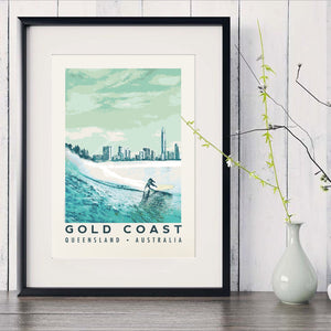 Queensland Gold Coast Poster with Blue surfer with Gold Coast skyline in black frame with white vase