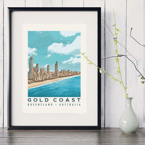 Gold Coast Australia Poster with Surfers Paradise skyline in black frame with white vase