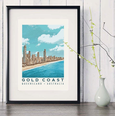 Surfers Paradise at Gold Coast art print in black frame with white vase