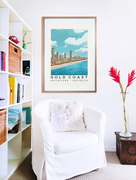 Gold Coast Australia Poster with Surfers Paradise skyline in wooden frame with armchair