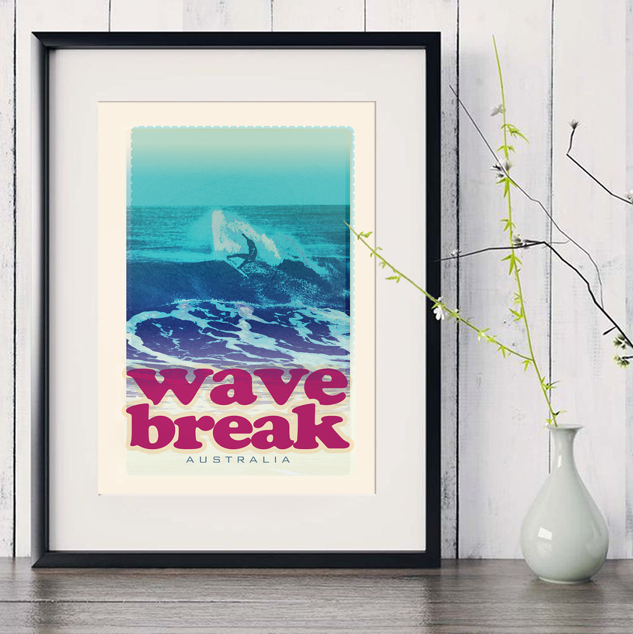 A3 Australia Surf Poster 'Wave Break' Red in black frame