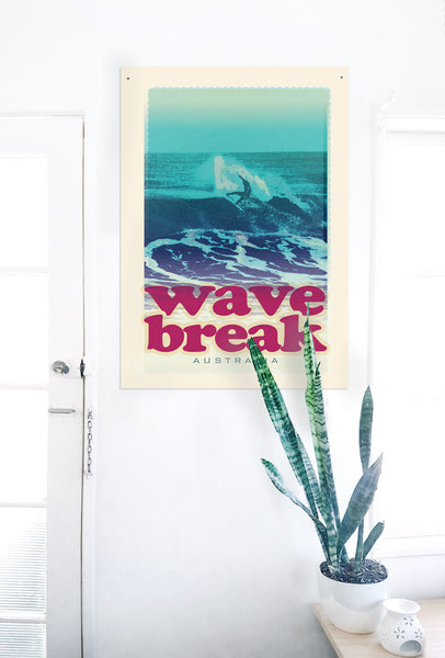 A2 Australia Surf Poster 'Wave Break' Red on white wall