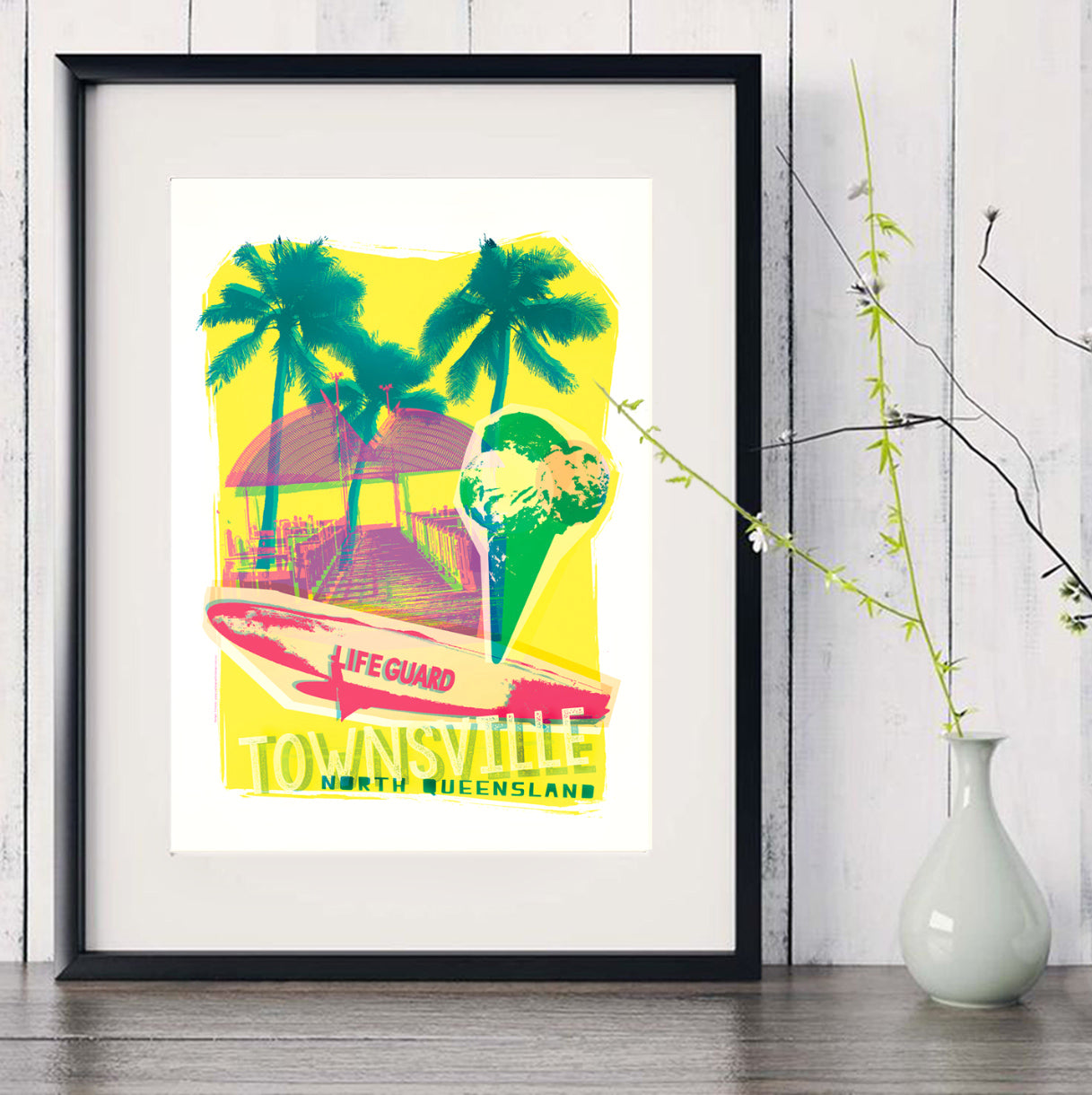 A3 Townville Poster 'Lifeguard' in black frame