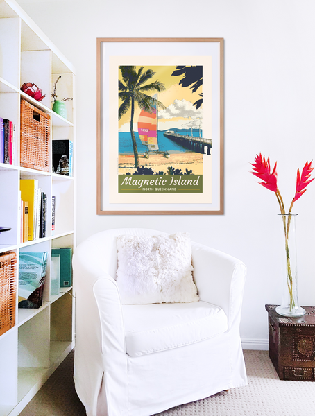 Picnic Bay, Magnetic Island poster print in wooden frame with armchair