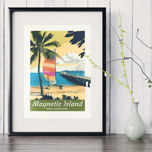 A4 Picnic Bay, Magnetic Island, Townsville Poster in black frame with white vase