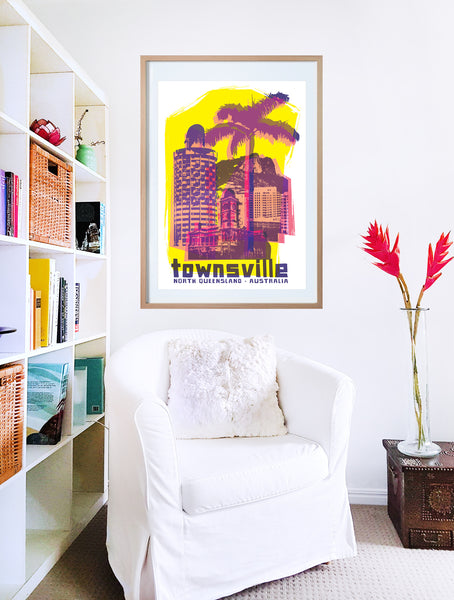 Townsville collage with Sugar Shaker and Castle Hill poster print in wooden frame with armchair