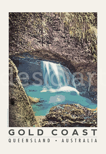 Queensland Gold Coast Poster 'Natural Bridge' with watermark
