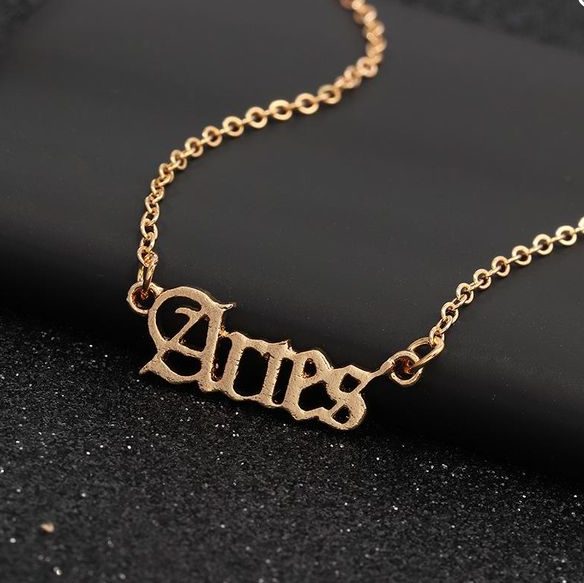 Star Zodiac Script Necklace