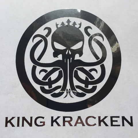 Kracken Chrome Skull Sticker - Best Fishing Performance Shirts