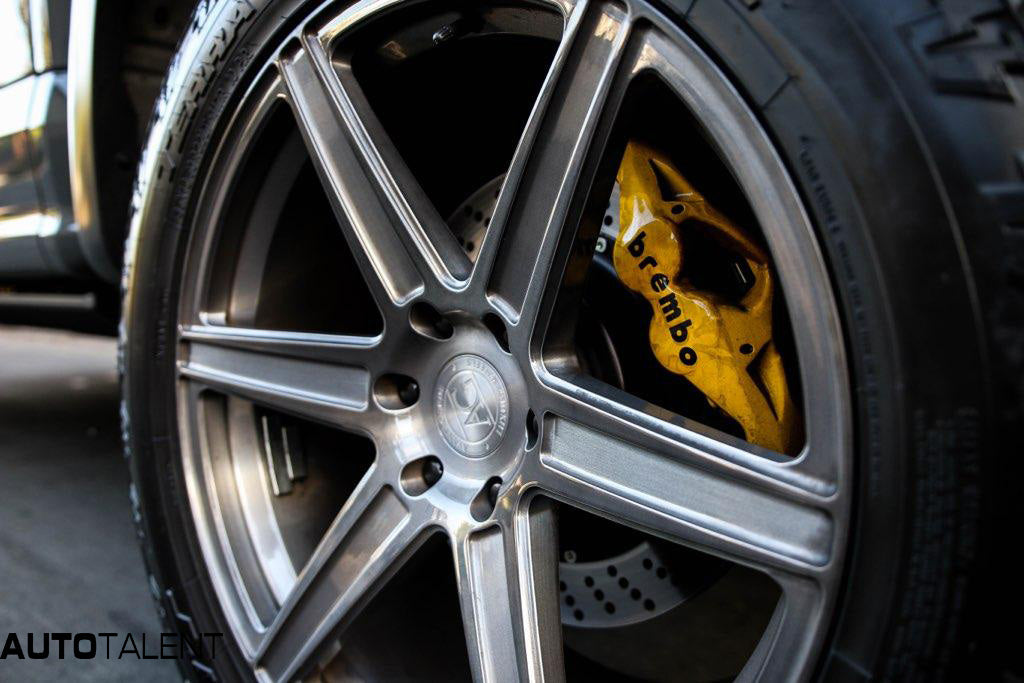 closeup of Avant Garde AGL22 mono block forged wheel with Brembo Brake