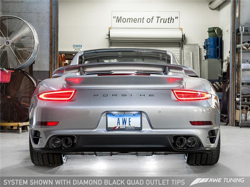 AWE Tuning Porsche 991 Turbo Performance Exhaust and High-Flow Cat - Black  Quad Tips