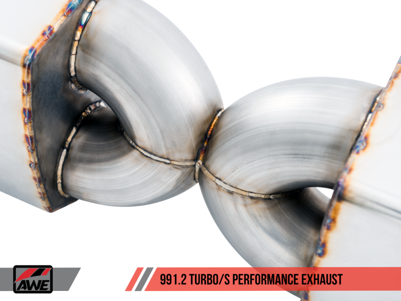 AWE Tuning Porsche 991.2 Turbo Performance Exhaust and High-Flow Cat Sections - With Chrome Silver Quad Tips