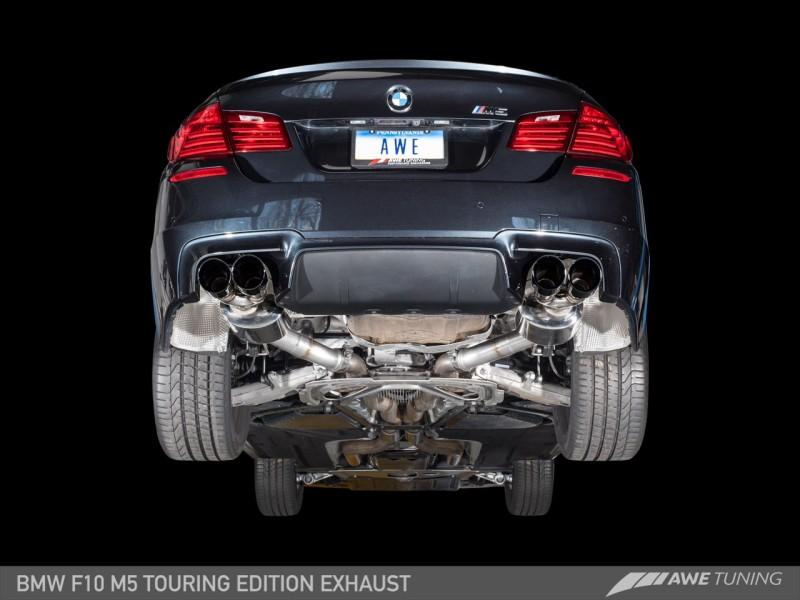 AWE Tuning BMW F10 M5 Touring Edition Axle Back Exhaust, Chrome Silver Tips