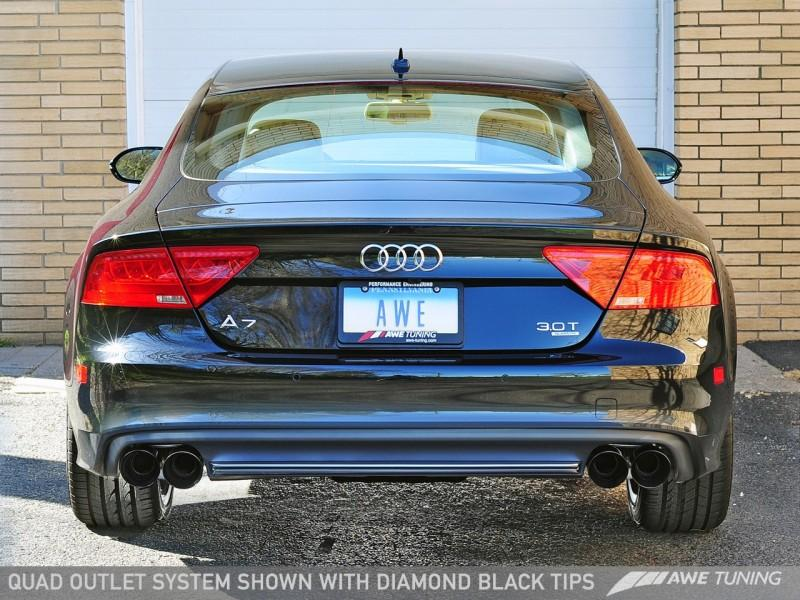 AWE Tuning Audi C7 A7 3.0T Touring Edition Exhaust - Quad Outlet, Diamond Black Tips - with Valance (Prestige Models only)