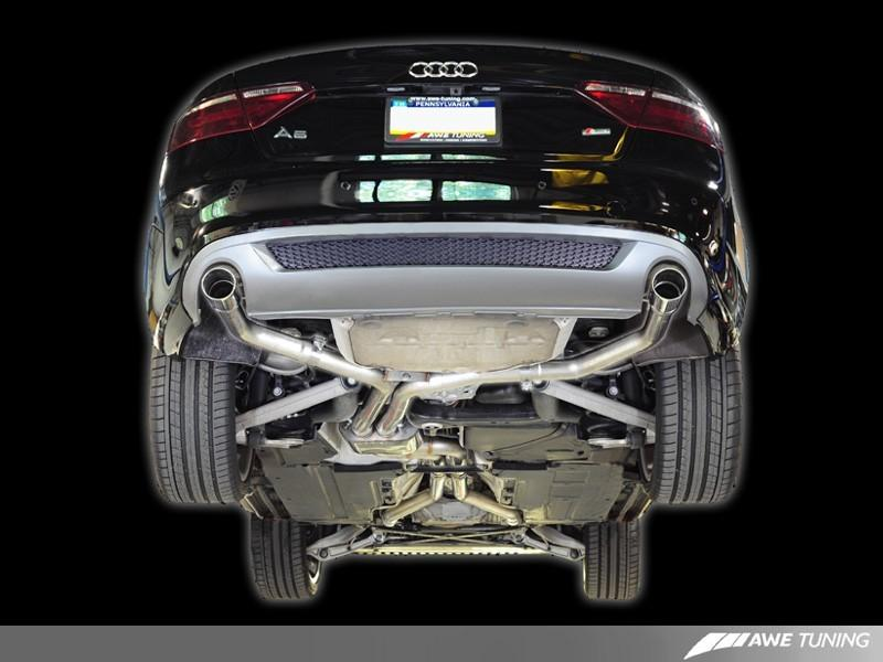 AWE Tuning A5 3.2L Track Edition Exhaust System - Dual 3.5in Polished Silver Tips