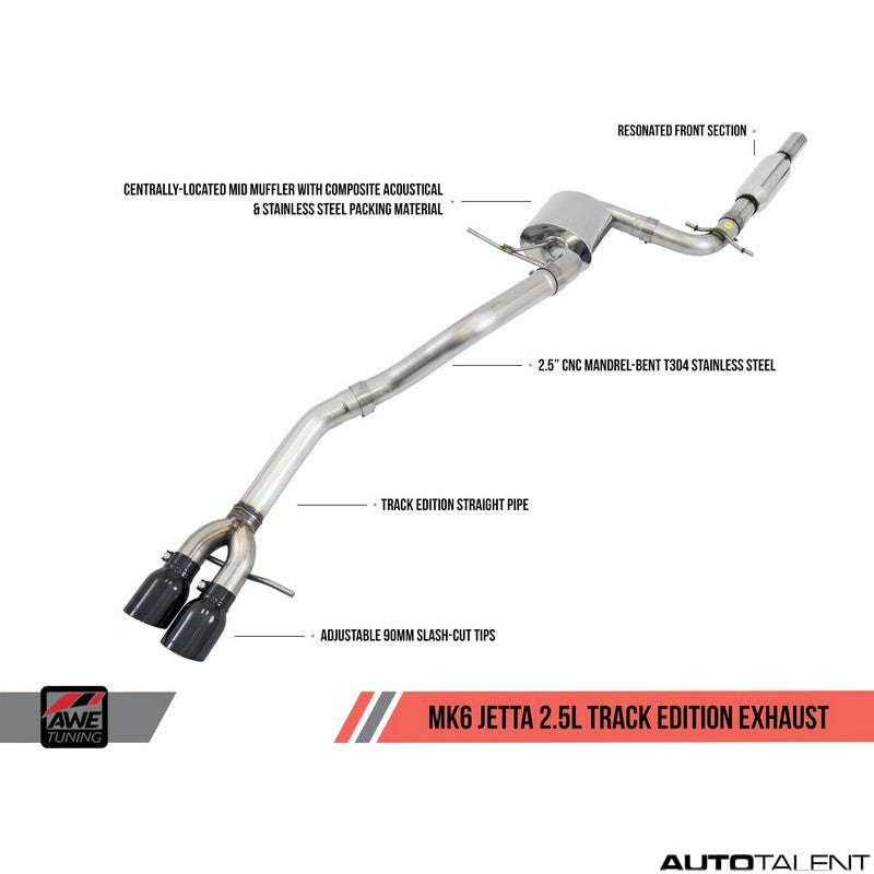 AWE Tuning Track Edition Cat-Back Exhaust - Volkswagen Jetta MK6 2011-2013