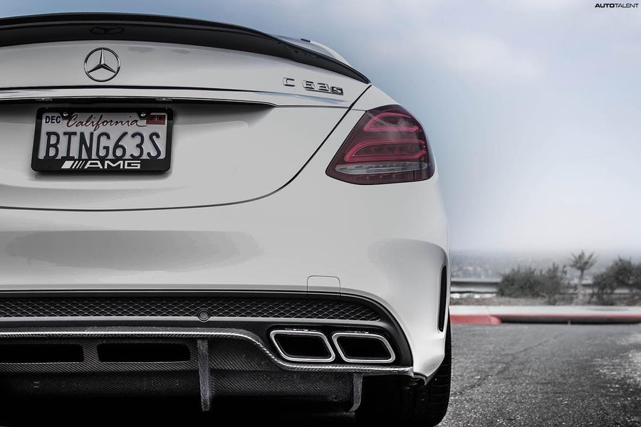 PSM Dynamic Carbon Fiber Rear Diffuser Undertray Mercedes-Benz W205 C63 AMG - autotalent