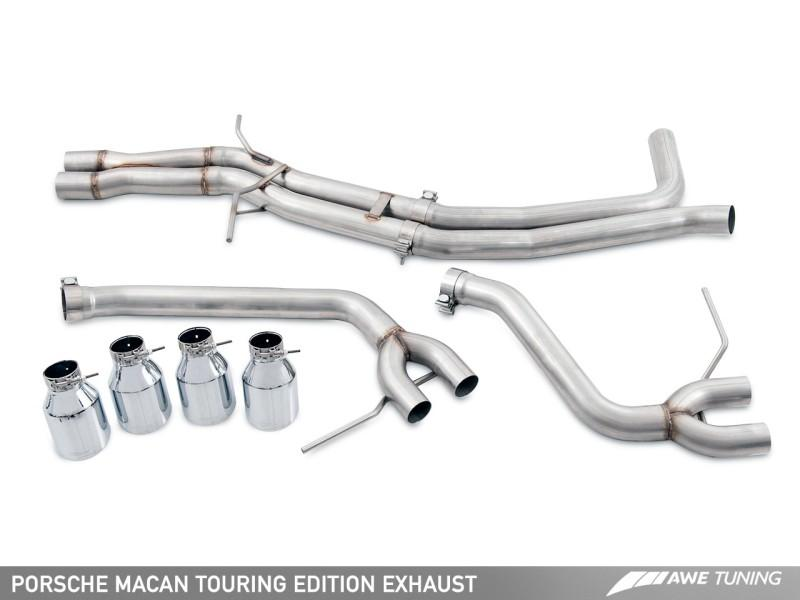AWE Tuning Porsche Macan Touring Edition Exhaust System - Diamond Black 102mm Tips