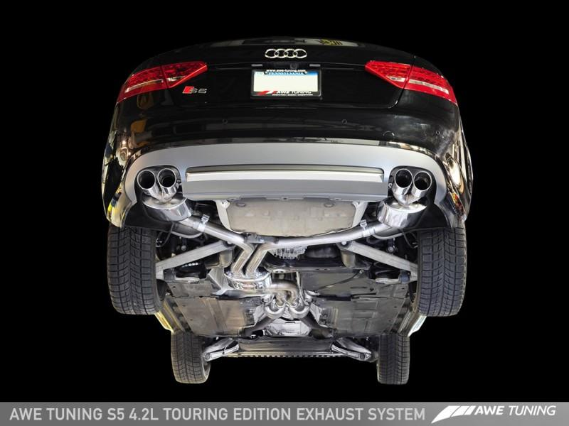 AWE Tuning S5 4.2L Touring Edition Exhaust System - Polished Silver Tips - AutoTalent