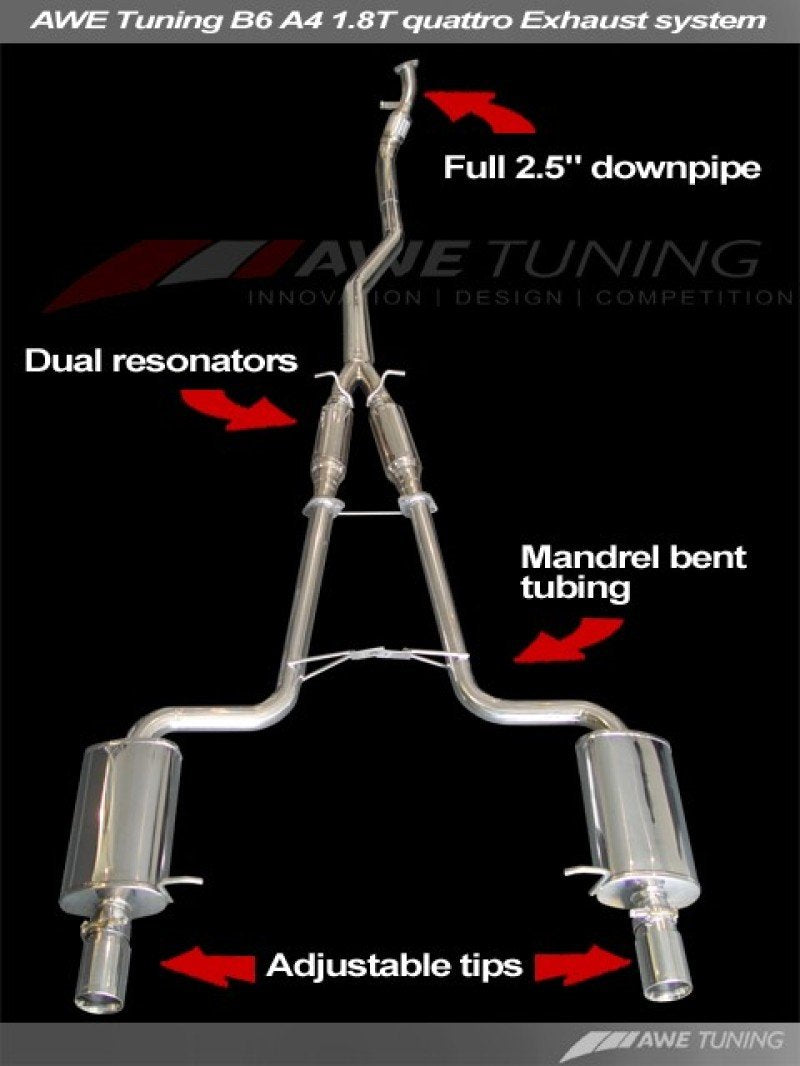 AWE Tuning B6 A4 Performance Exhaust System (Downpipe + Exhaust) for Manual Cars - Diamond Black Tips