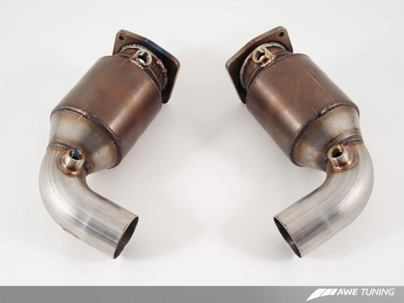 AWE Tuning Porsche 997.2TT Performance High Flow Cat Sections for OE Muffler
