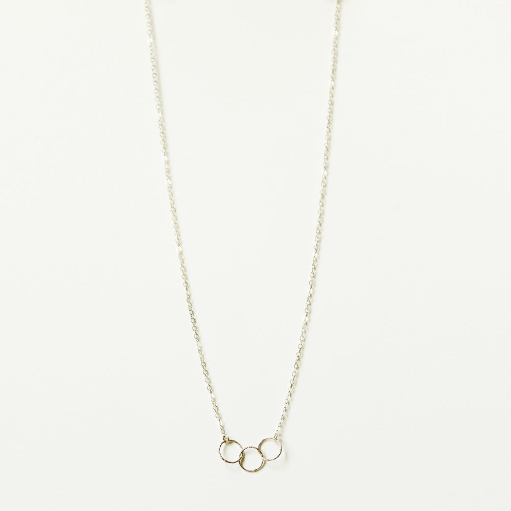 3 Ring Silver Charm Necklace