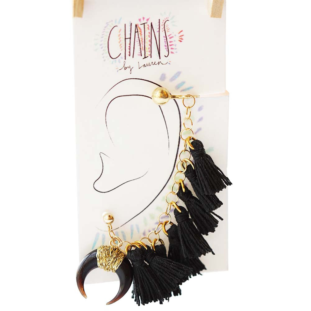 Black Tassel Ear Cuffs | Kaimu Beach